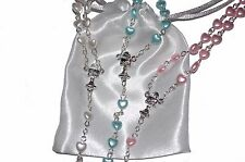 Rosary Beads Pearl Heart Rosary Necklace Catholic Prayer Bead Gift Bag Christian
