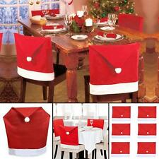 1-10Pcs Christmas Decorations Happy Santa Hat Chair Back Covers Dinner Decor Red