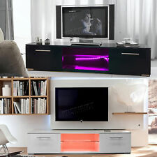 FoxHunter Modern High Gloss Matt TV Cabinet Unit Stand RGB LED Light Home TVC12