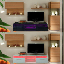 FoxHunter Modern High Gloss Matt TV Cabinet Unit Stand RGB LED Light Home TVC11