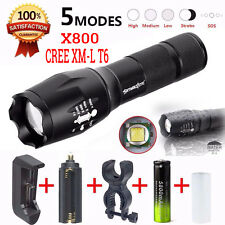 X800 5000Lm T6 LED Flashlight Zoomable Rechargeable Torch 18650 Battery Charger