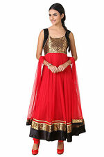 Fasense Ethnic Wear Net Long Anarkali Salwar Suit Churidar VG048 D
