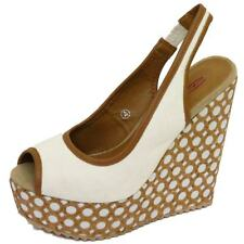 LADIES DOLCIS WHITE BEIGE PLATFORM WEDGE SANDALS PEEP-TOE ANKLE SHOES SIZE 3-8