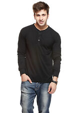 Gritstones Men Black Full Sleeves Henley T-Shirt(GSFSHNLYBLK)