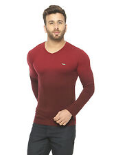 Gritstones Men Maroon Full Sleeve V-Neck T-Shirt(GSFSOMBVNECKMRN)