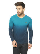 Gritstones Men Turquoise Full Sleeve V-Neck T-Shirt(GSFSOMBVNECKTRQ)