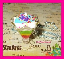 HANDMADE Rainbow Ice Cream Sundae Sprinkle Charm Silver Necklace 1 of a Kind USA
