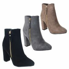LADIES WOMENS HIGH BLOCK HEEL ZIP UP FAUX SUEDE CHELSEA ANKLE BOOTS SHOES SIZE