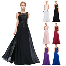 Women  Chiffon Lace Evening Formal Party Ball Gown Prom Sleeveless Long Dress