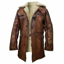 Tom Hardy Style Dark Knight Rises Bane Real Leather Shearling Trench Coat Brown
