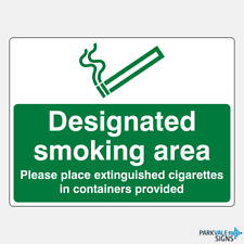 Designated Smoking Area Cigarettes In Containers Provided Sign