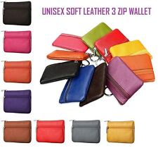 UNISEX SOFT BLACK LEATHER 3 ZIP COIN POUCH PURSE WALLET CREDIT CARD HOLDER clrCn