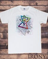 Mens White T-shirt Geometric All Over Abstract design Print TS369