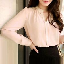 2016 Spring Women Chiffon Shirt Blouse Ladies White Pink Elegant Sexy V-neck Lon