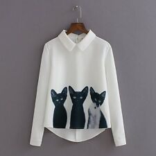 2016 New Fashion Cats Printed Pullover Shirts Long Sleeve Casual Women Korean Wh