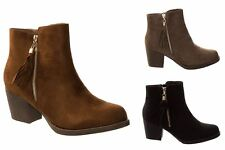 Womens Gold Block Ankle Mid Suede Heel Zip Boots Faux Tassel Sizes UK 3-8
