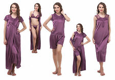 Fasense Women Satin Nightwear Sleepwear 6 pc, Nighty Robe Top Shorts Bra & Thong