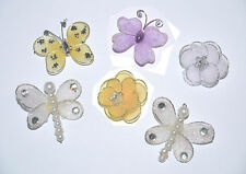 Various Wire Mesh Card Topper Embellishments - Flowers/Butterflies/Dragonflies