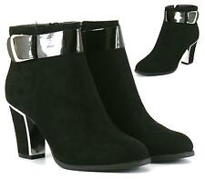 Womens Ladies Mid High Block Heel Silver Trim Chelsea Ankle Boots Shoes Sizes UK