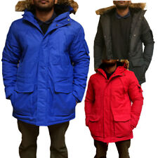 Mens Detachable Fur Collar Hooded Parka Jacket Warm Winter Padded Coat Size