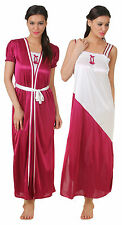 Fasense Exclusive Women Satin Nightwear Sleepwear 2 PCs Set Nighty Robe, FA050 B