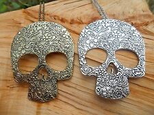 Skull Flower Large Gothic Pendant Long Length Necklace Silver & Gold Effect NEW
