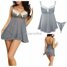Womens Sexy Lingerie Nightwear Babydoll Dress G-String Set Underwear Sleepwear