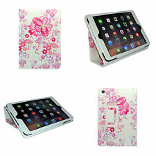 Apple iPad Mini Blanco Multicolor diseño de flores rosa funda de polipiel