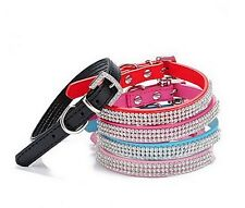 Colliers Chat Chien Ajustable Strass Rouge Noir Bleu Rose