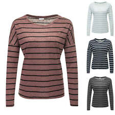 JdY Only Maglietta da donna T-shirt Manica lunga Shirt Top Righe Color Mix NUOVO