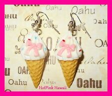 Large 3D Ice Cream Cone Bow Sprinkles Silver Plated Drop Earrings USA HANDMADE