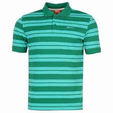 Slazenger Pique Yarn Dye Polo Shirt Mens Green/Aqua Top T-Shirt Tee