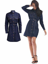 New Womens Ladies Collared Belted Long Sleeve Denim Shirt Dress Size UK 8-14