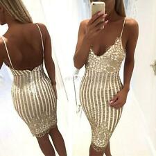Women Sexy Deep V Dress Golden Sequins Bodycon Backless Party Cocktail Dress