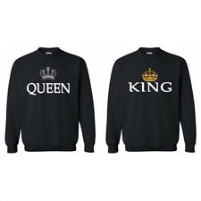 Damen Herren Langarm Shirt Queen & King Partnerlook Pärchen Paar Freundin Pulli