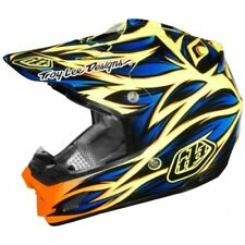 Casque de moto Troy Lee Designs SE3 Beast bleu jaune #1699 Casque cross