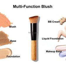 New Flat Angled Wooden Liquid Foundation Powder Contour Bronzer Makeup Brush C5
