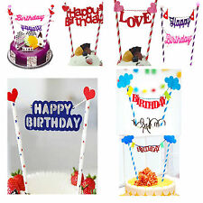 Bunting Style Happy Birthday Cake Topper Decoration for Birthday Party UK seller