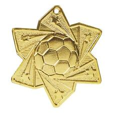60mm Shooting Stars Football Medal with Ribbon,Gold,Silver,MD053(twt)