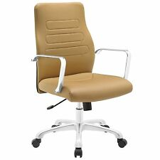 Modern Waterfall Seat Mid Back Aluminum Office Chair in Tan