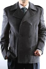 Mens Double Breasted Charcoal Wool Winter Coat, SML-W93523W-93512-810-CHA