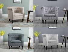 FoxHunter Vintage Linen Fabric Tub Chair Armchair Dining Living Room Lounge TC07