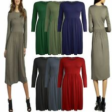 New Women Ladies Frankie Ruched Long Sleeves Swing Flared Skater Plus Size Dress