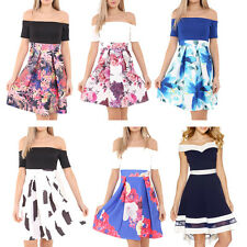 New Womens Ladies Bardot Off Shoulder Contrast Floral Print Skater Dress UK 8-20