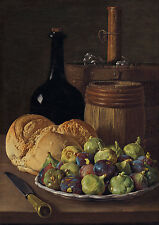"""Luis Melendez: """"Still Life with Figs and Bread"""" (c.1770) — Giclee Fine Art Print"""
