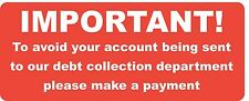 Accounts Stickers - Overdue - Final Request Payment Required - Debt Collection