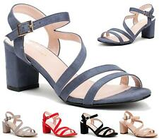 WOMENS LADIES BLOCK MID HEEL ANKLE BUCKLE PEEP TOE SUMMER SANDALS SHOES SIZE