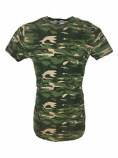SALE £11.50 // King Kouture Mens Camouflage Tee T-Shirt with Zip Detail / SALE /