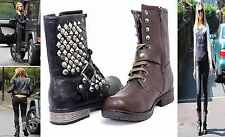 NEW LADIES WOMENS BIKER LACE UP RIDING GOTH PUNK MID CALF ANKLE BOOTS SIZE 3-8