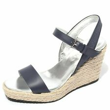 B0628 sandalo donna HOGAN scarpa zeppa blu chiaro shoes women